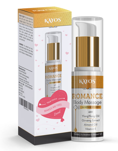 Kayos Romance Body Massage Oil for Men & Women Personal Lube For Relaxation with Ylang Ylang Oil - Valentines Day Gift Idea