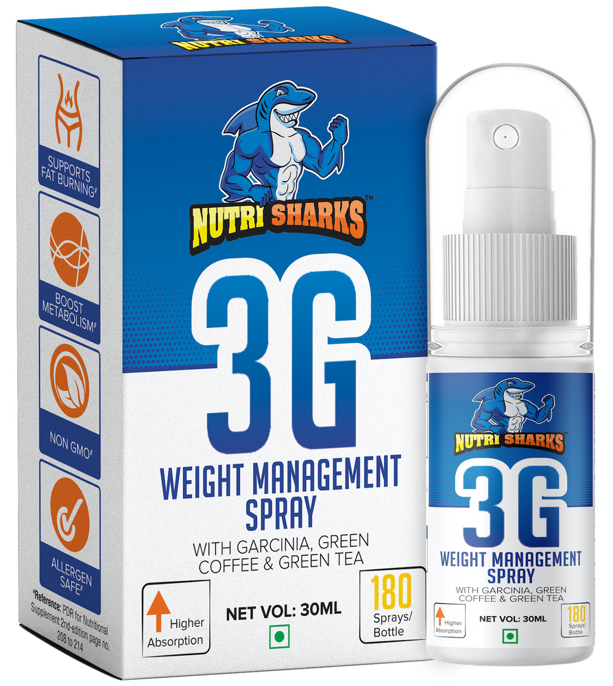 NUTRISHARKS 3G Weight Management Spray with Garcinia Cambogia, Green Coffee Beans and Green Tea - 30mL