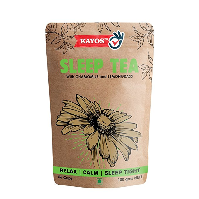 Kayos Sleep Tea with Chamomile and Lemongrass - Promotes Healthy Sleep, Calmness and Relaxation – Caffeine Free (100 gms)