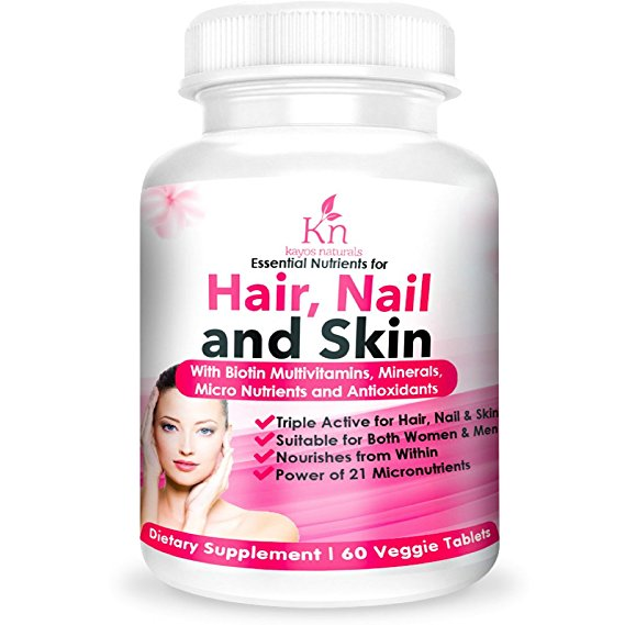 Kayos Naturals Hair Skin and Nails Supplement with Biotin for Hair Growth - 60 Veg Tablets