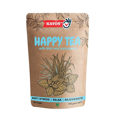Kayos Happy Tea – Stress Relief Tea - Lifts Mood and Rich in Anti-Oxidants with Green Tea, Mint & Lemongrass (100 gms)
