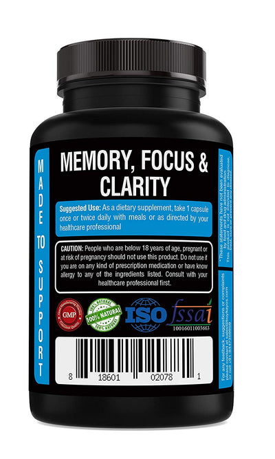 Kayos Naturals Ginkgo Biloba with Ashwagandha and Bacopa Brahmi for Memory Focus and Concentration 500mg - 60 Capsules