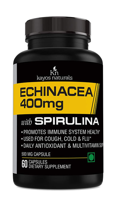 Kayos Naturals Echinacea 400mg with Spirulina for Healthy Immune System - 60 Capsules
