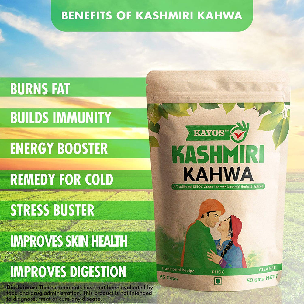 Kayos Kashmiri Kahwa – Detox Green Tea with Kashmiri Herbs & Spices – Improves Digestion, Burns Fat, Boosts Immunity – 50g