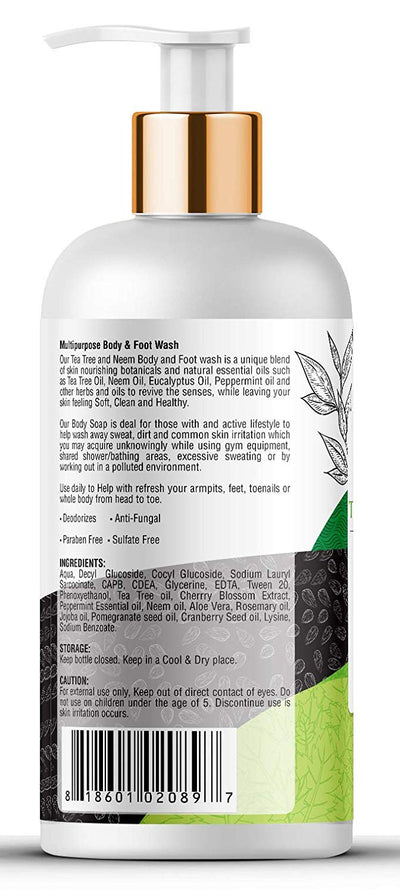 Kayos Botanicals Antifungal Soap with Tea Tree Oil & Neem - Body Wash Foot Soak for Healthy Feet, Skin & Nails - 300mL
