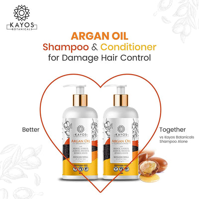 Kayos Botanicals Argan Oil Conditioner for Hair - No Sulfates No Parabens with Keratin for All Hair Types - 300mL