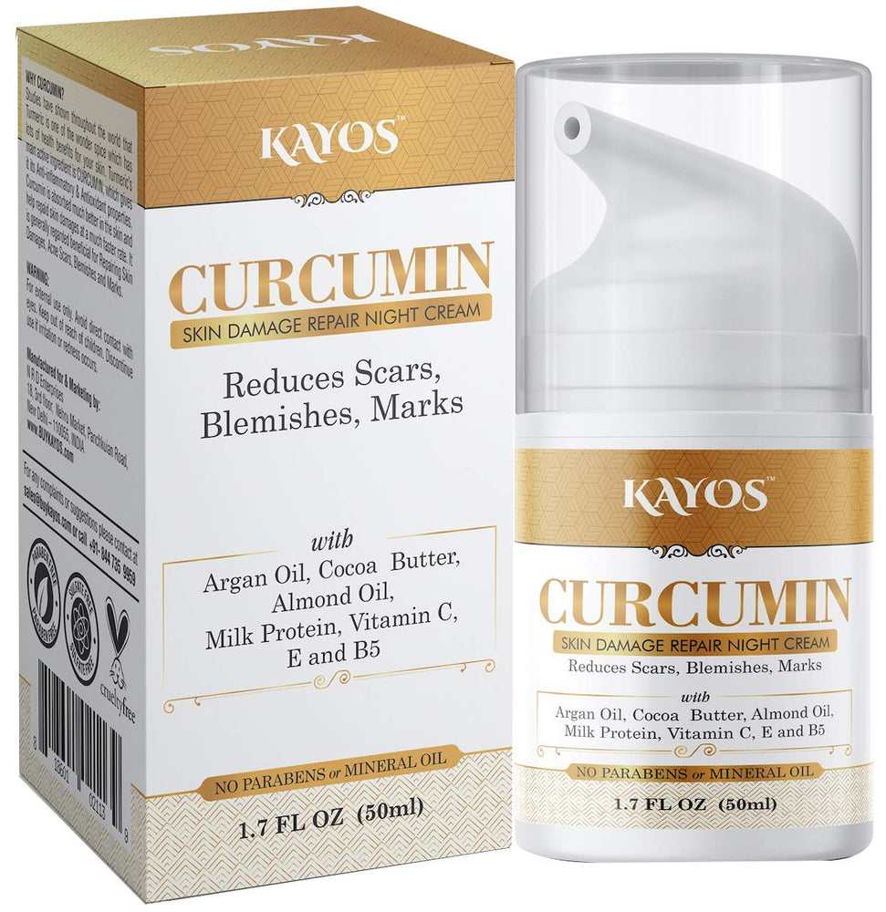 Kayos Curcumin Skin Damage Repair Night Cream with Vitamin C, Milk Protein, Argan Oil, Vitamin E & more – 50 mL
