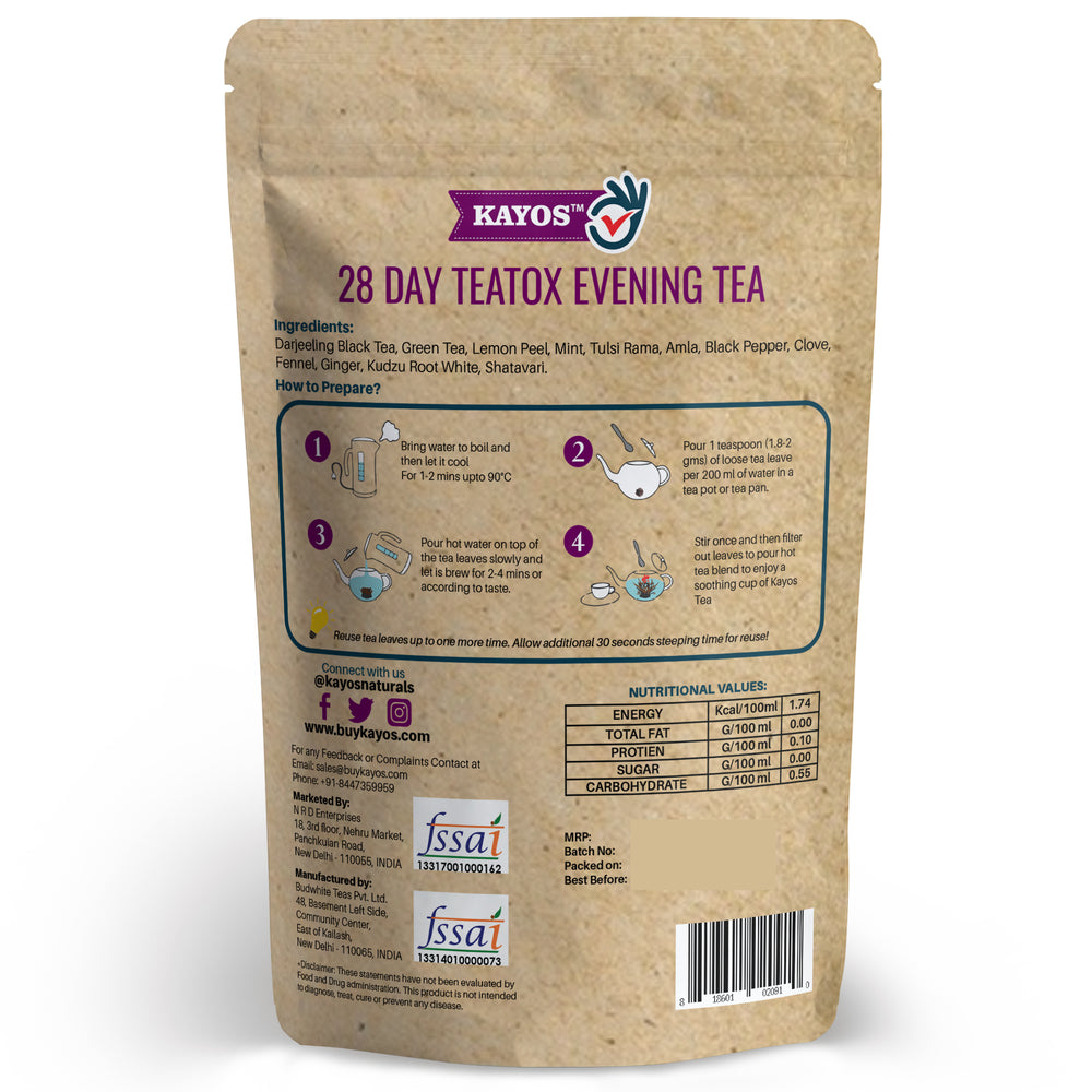 Kayos 28 Day Teatox Evening Tea for Metabolism Boost - 50g