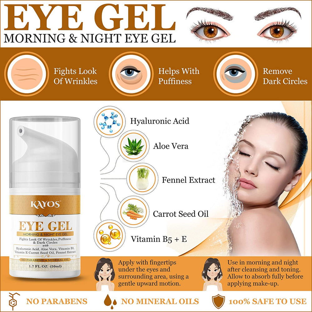 Kayos Eye Gel, Hyaluronic acid for Wrinkles, Fine Lines, Dark Circles, Puffiness, Bags - Hydrating, Firming, Rejuvenates Skin - Advanced Repair Formula 50mL