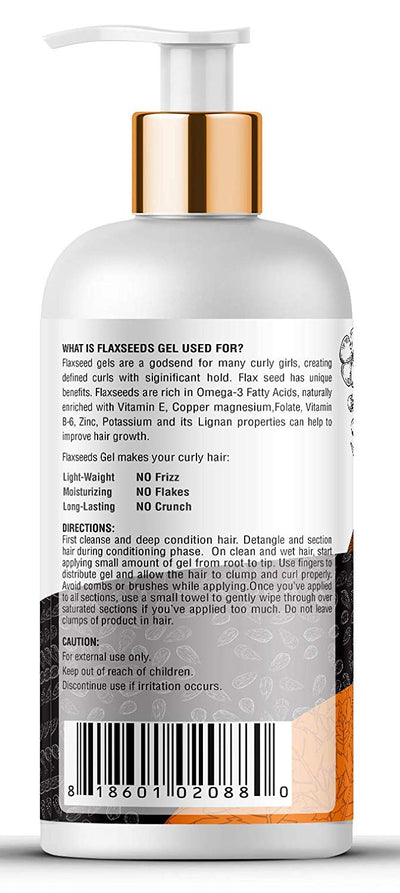 Kayos Botanicals Pure Flaxseed Hair Gel for Curly Hair with Flaxseed, Castor Oil & Vitamin E - Sulfate & Paraben Free - 300mL