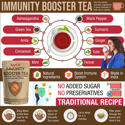 Kayos Immunity Booster Tea - Traditional Herbal Tea with Amla, Tulsi, Giloy, Turmeric, Ashwagandha - 50g