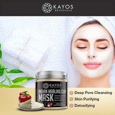 Kayos Indian Healing Clay Mask - 100% Natural Bentonite Clay with Apple Cider Vinegar - Powerful Facial Deep Pore Cleansing & Detoxifying - 200g