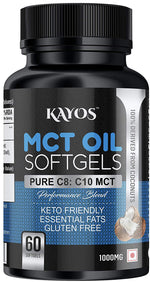 MCT Oil Softgels 1000 MG - Pure Caprylic Acid (C8) & Capric Acid (C10) Medium-Chain Triglycerides from Organic Coconuts - Keto Diet Supplement for Weight Loss, Gut Health & Energy - 60 Softgels