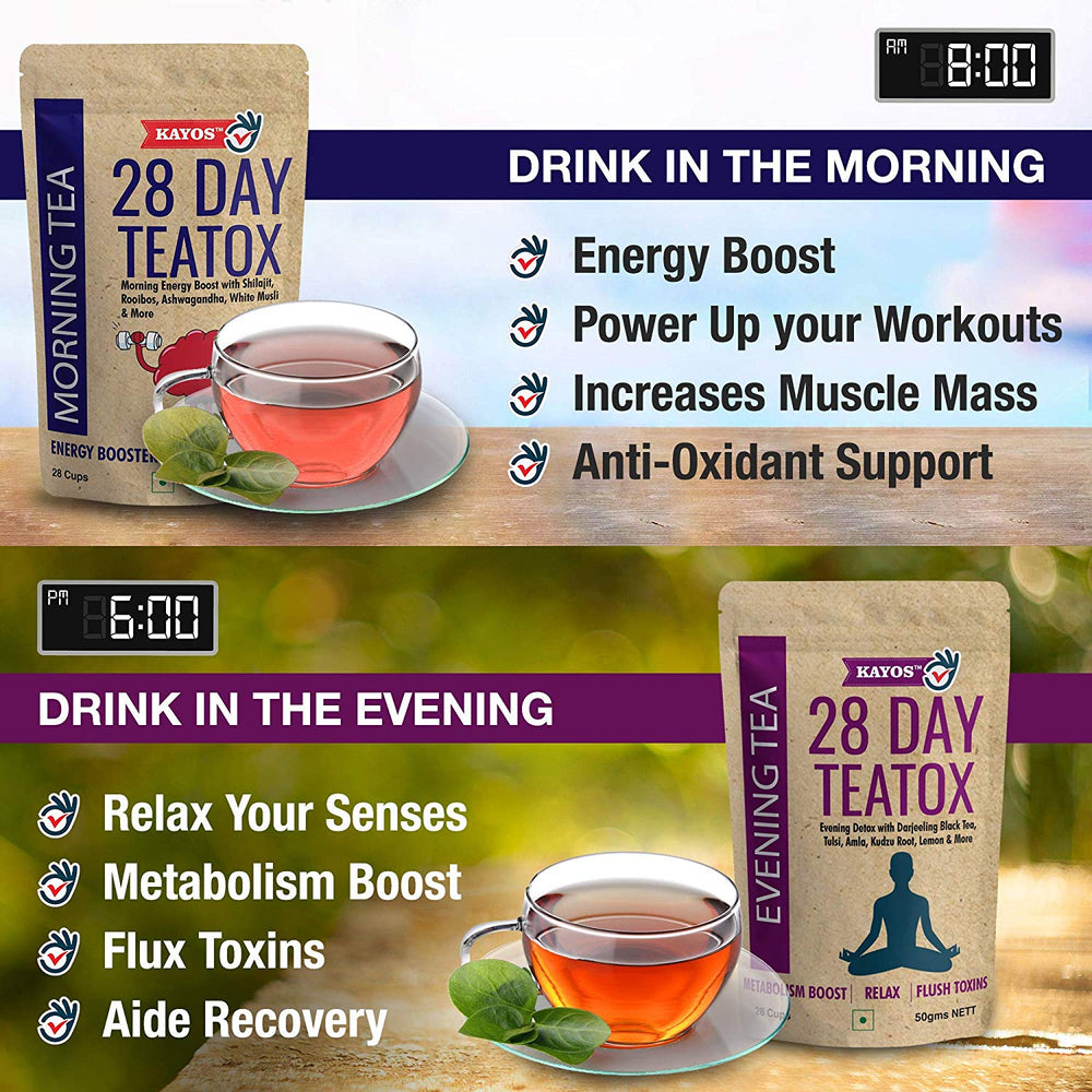 Kayos 28 Day Teatox with Morning Energy Boost and Evening Metabolism Booster Combo for Weight Loss - 100gm