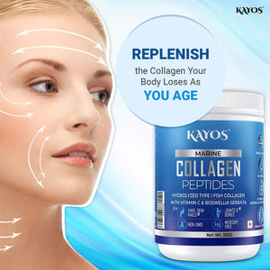 Kayos Marine Collagen Peptides – Mercury Free Hydrolyzed Type 1 Fish Collagen with Vitamin C & Boswellia Serrata for Healthy Hair, Skin Nails and Joints – 250g