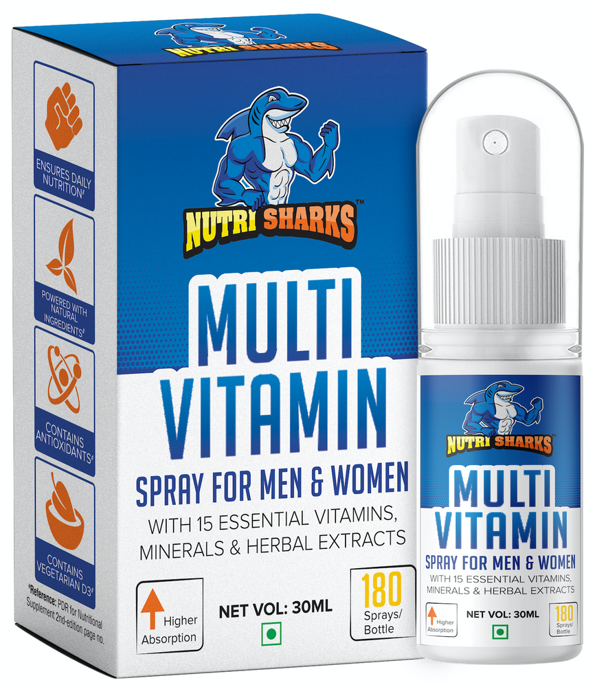 NUTRISHARKS Multivitamin Spray for Men & Women - Daily Essential Vitamins, Minerals, Antioxidant & Amino Acids for Brain, Energy, Joints, Bones, Hair & Skin Health - 30mL