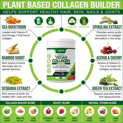 KAYOS Plant Based Vegan Collagen Powder Supplement for Hair, Skin, Nails, Joints with Spirulina, Green Tea, Sea Buckthorn, Acerola Cherry & More – 250g