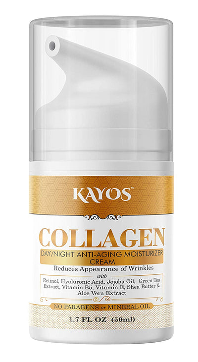 Kayos Collagen Day Night Anti Aging Moisturizing Cream With Retinol, Aloe Vera & Green Tea Extracts, Vitamin B5, Vitamin E - No Parabens or Mineral Oil - 50mL