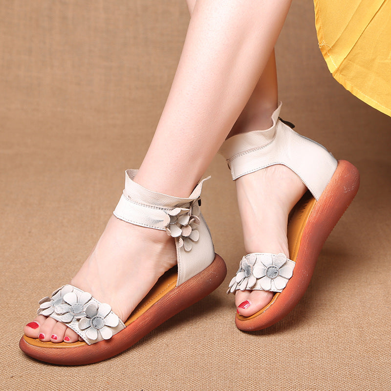 6e581993e25ccd Retro Handmade Flower Genuine Leather Sandals