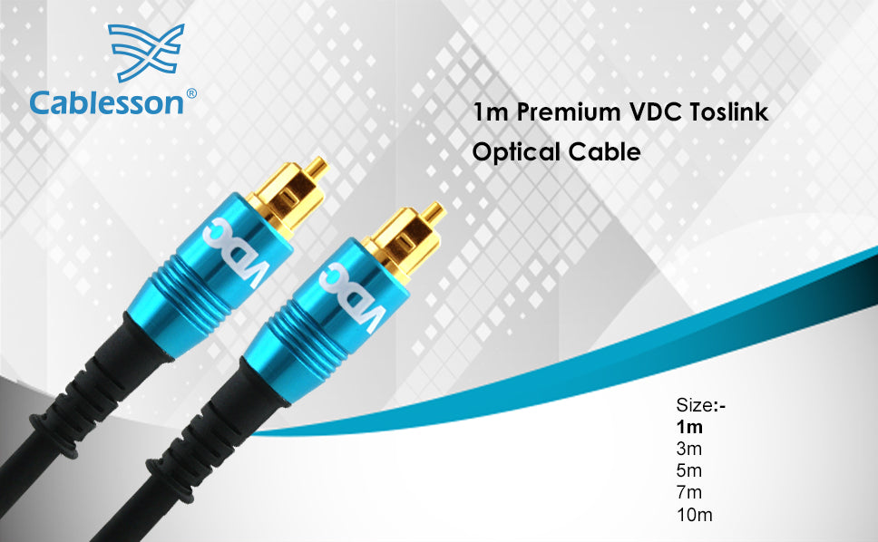 VDC 1m Optical TOSLINK Digital Audio SPDIF Cable - Blue - hdmicouk