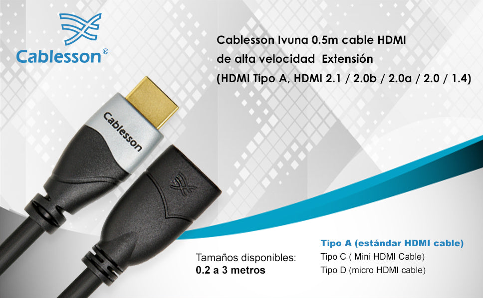 Cablesson Ivuna 0.5m High Speed HDMI Extension Cable  - Black - hdmicouk