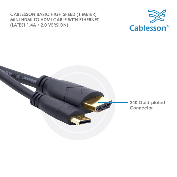 Cablesson Basic High Speed Mini HDMI to HDMI Cable 1m-5m - Male to Male