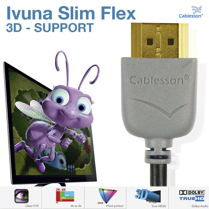 Cablesson Ivuna Slim Flex 1m High Speed HDMI Cable (HDMI Type A, HDMI 2.1/2.0b/2.0a/2.0/1.4) - 4K, 3D, UHD, ARC, Full HD, Ultra HD, 2160p, HDR - **Ultra Slim Design** - Grey - hdmicouk