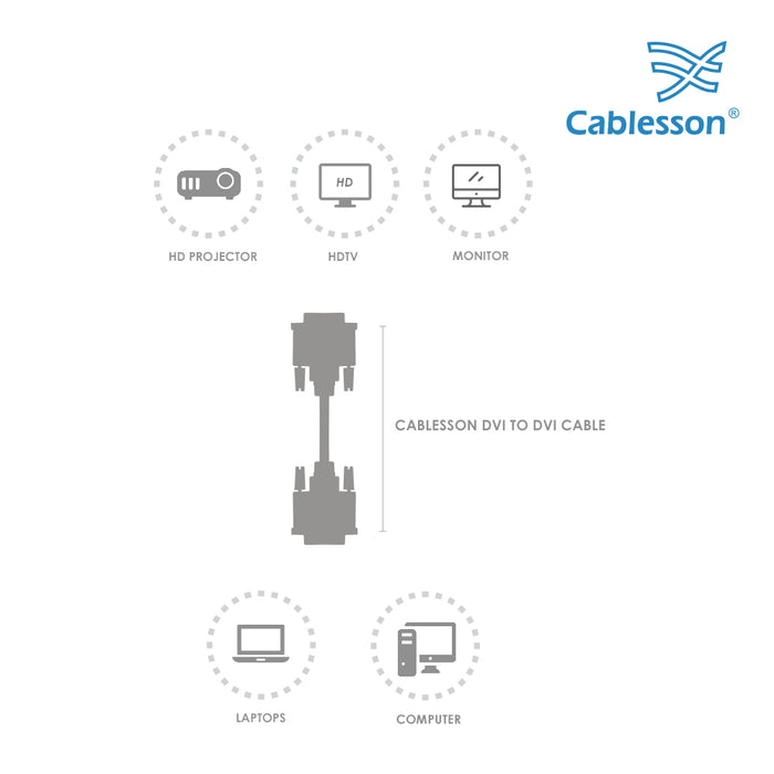 Cablesson 2m DVI to DVI cable - Black - hdmicouk