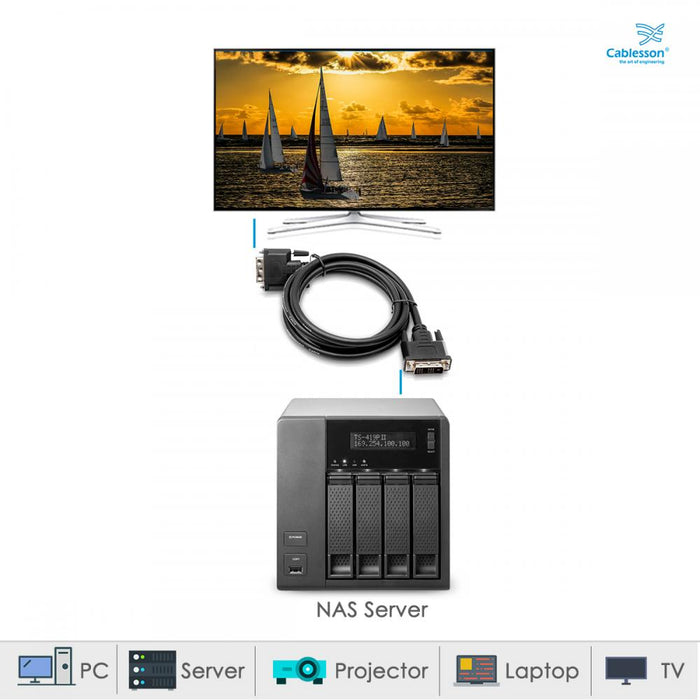 Cablesson DVI to DVI cable - Broadband, DVI-D male to DVI-D male with gold-plated connectors. Single link 19 pin, for TV, monitor and projector, HDTV resolutions up to 1920x1080 - Black, 10m. - HDMICOUK