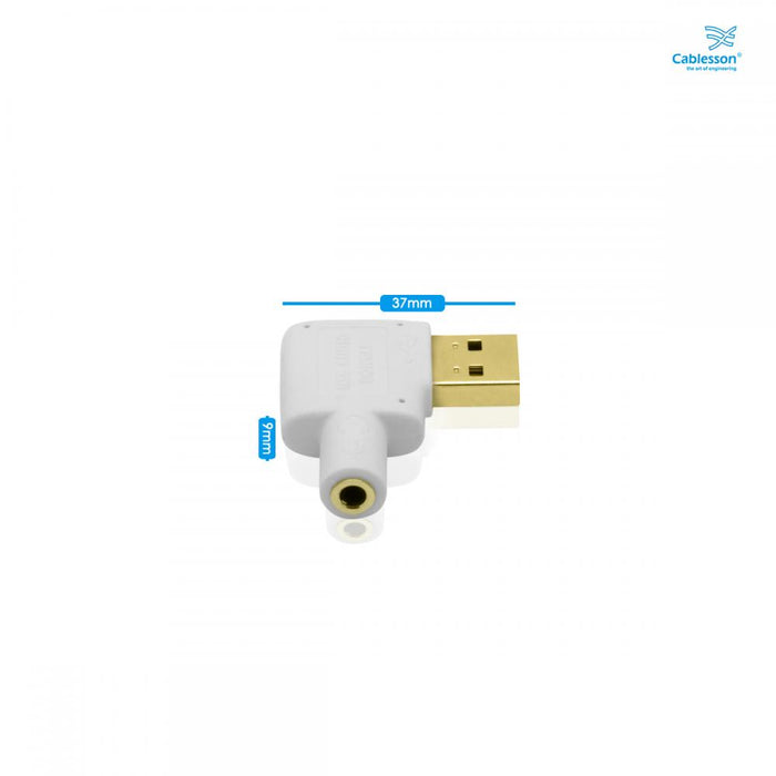 Cablesson USB to Audio Converter (White) - Plugable USB Audio Adapter with  3 5mm Jack connector - USB 2 0 (Type-A) - Raspberry Pi, Beaglebone