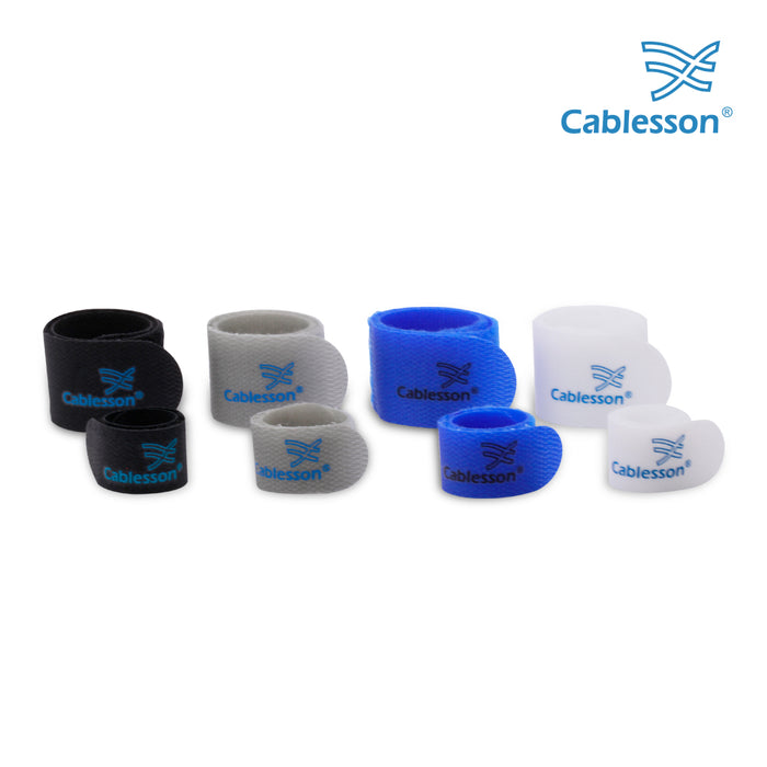 Cablesson Hook and Loop Nylon Velcro Cable Ties Slim Pack of 50 - Blue - hdmicouk