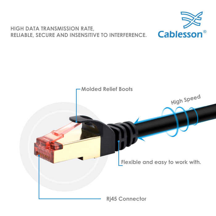 Cablesson 15m Ethernet Cable Cat7 LAN Cable With RJ45 - Black - hdmicouk