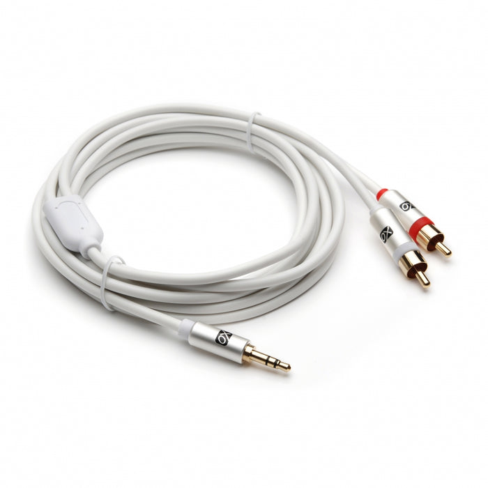 XO 3.5mm Male to 2 x RCA male Stereo Audio Cable - 3.5 jack to RCA Male to Male lead - 7.5m, White - Gold plated connectors. - hdmicouk