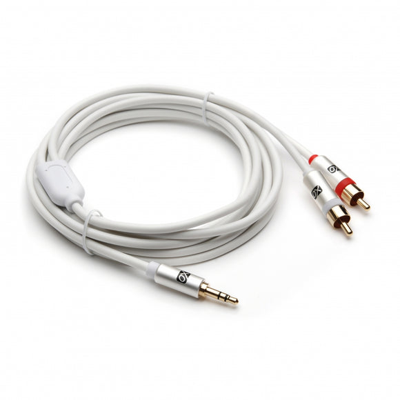 XO 3.5mm Male to 2 x RCA male Stereo Audio Cable - 3.5 jack to RCA Male to Male lead - 10m, White - Gold plated connectors