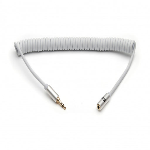 XO 3.5mm Jack Coiled Stereo Audio Cable - 1m - White - hdmicouk