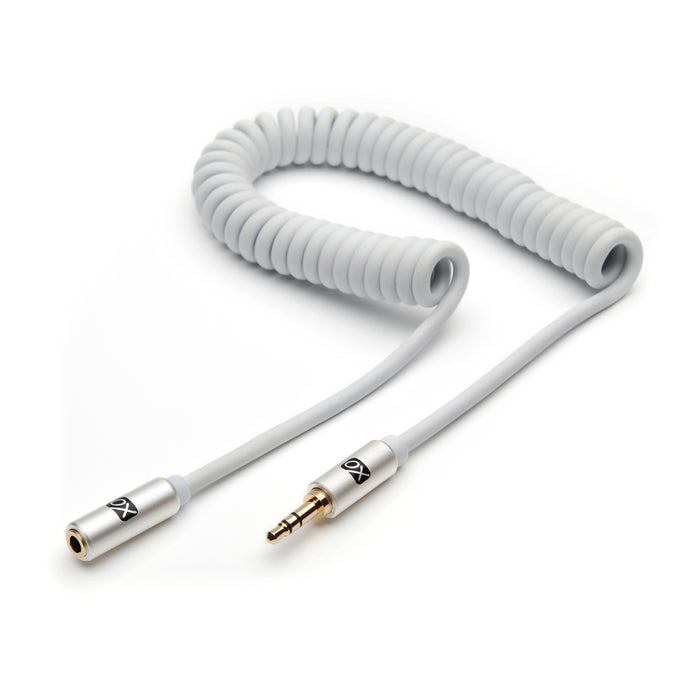 XO 3.5mm Coiled Stereo Audio Cable White, 3m - Audio extension cable Male to Female for Apple iPhone, iPod, iPad, Samsung, Smartphones & Tablets, MP3 Players, Speakers, PCs, Headphones, car stereo - hdmicouk