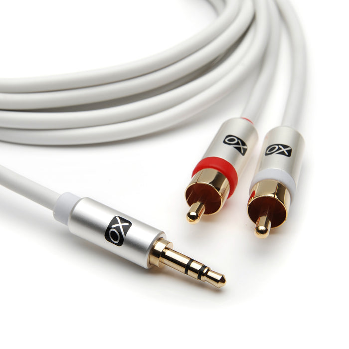 XO 10m 3.5mm Male to 2 x RCA male Stereo Audio Cable - White - hdmicouk