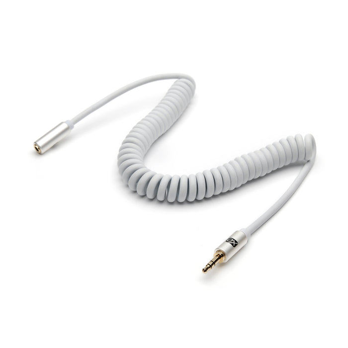 XO 3.5mm Coiled Stereo Audio Cable White, 2m - Audio extension cable Male to Female for Apple iPhone, iPod, iPad, Samsung, Smartphones & Tablets, MP3 Players, Speakers, PCs, Headphones, car stereo - hdmicouk