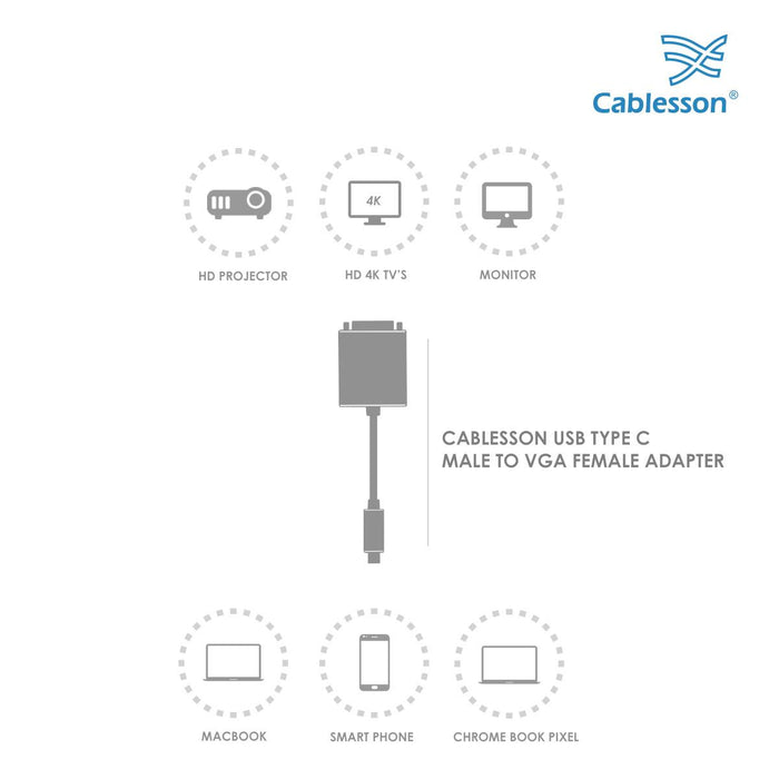 Cablesson USB Type C male to VGA female adapter with aluminum shells 0.23M 1080P@60Hz for Macbook Pro, Macbook, Google Chromebook Pixel, Dell XPS 13 / 15, Lenovo Yoga 900 - Black