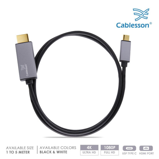 Cablesson USB Type C male to HDMI male adapter cable with aluminum shells 4K at 30Hz (UHD 4Kx2K) Adapter Converter for iMac 2017,Macbook Pro 2017 2016,Samsung Galaxy S9 S8-Black