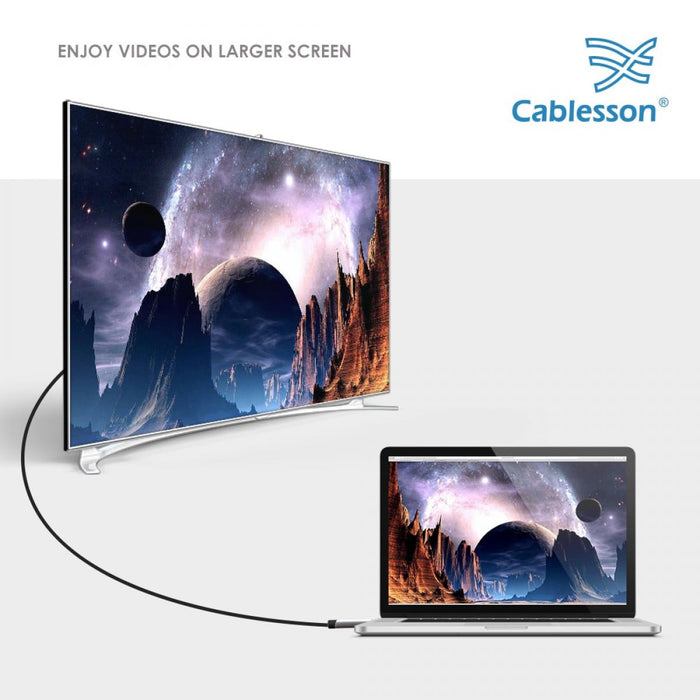 Cablesson USB Type C male to HDMI male adapter cable with aluminum shells 3M 4K@30Hz (Black)