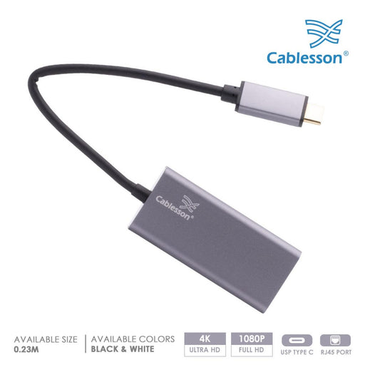 Cablesson USB Type C male to RJ45 adapter with aluminum shells 0.23M support 1000Mb (Gigabit LAN Network Port Connector Adaptor Converter Cable Wire Cord) for Type C Devices - Black