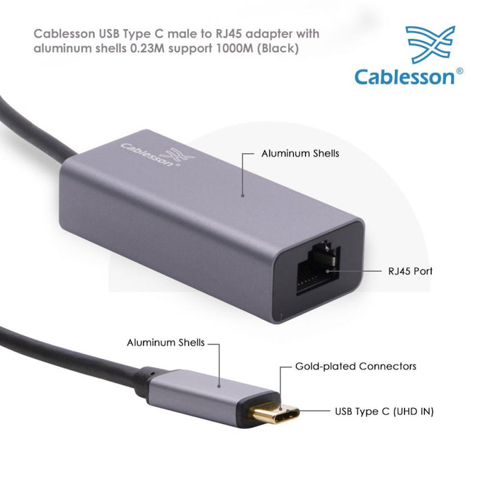 Cablesson USB Type C to RJ45 Adapter 0.23m - Male to Female - 1000m