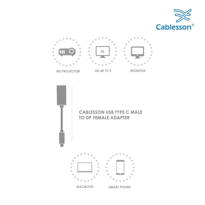 Cablesson USB Type C male to DisplayPort female Adapter with aluminum shells 0.23M 4K at 60Hz (DP v1.2a, UHD 4Kx2K, Thunderbolt 3 ) - for for PS4, Xbox One, Wii, Sky Q.Type C Enabled Devices - Black