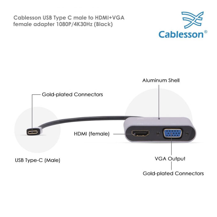 Cablesson USB Type C to HDMI+VGA Adapter 0.23M - Male to Female - 1080P/4K30Hz