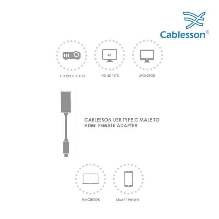 Cablesson USB Type C male to HDMI female adapter with aluminum shells for Apple 12 inch Macbook, Macbook Pro, Dell XPS 13, XPS 15, Lenovo, ASUS Zen Book 3, Samsung S9, S8, Mate 10, P20 - White