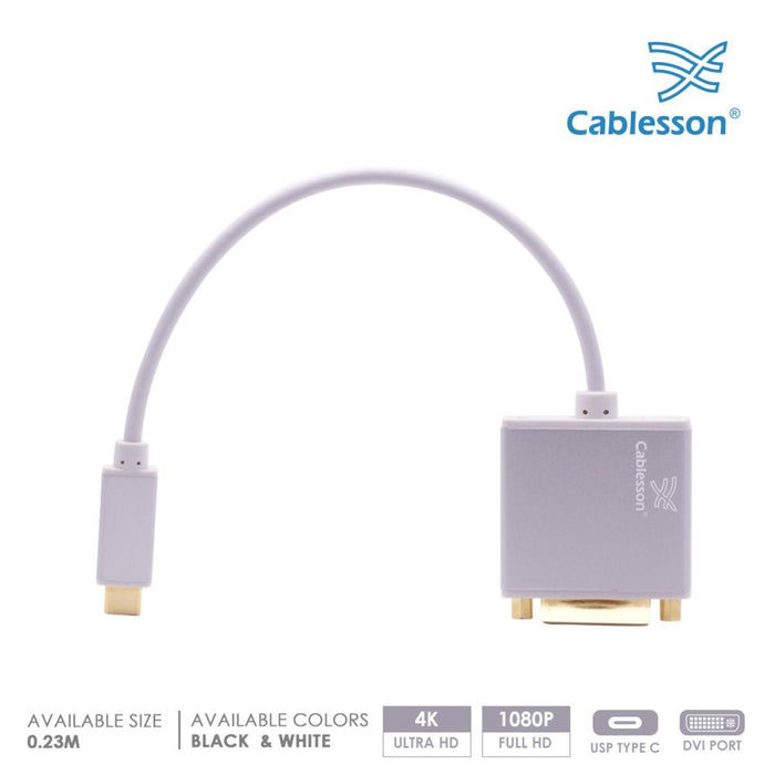 Cablesson USB Type C to DVI Adapter 0.23m - Male to Female - 4K@30Hz