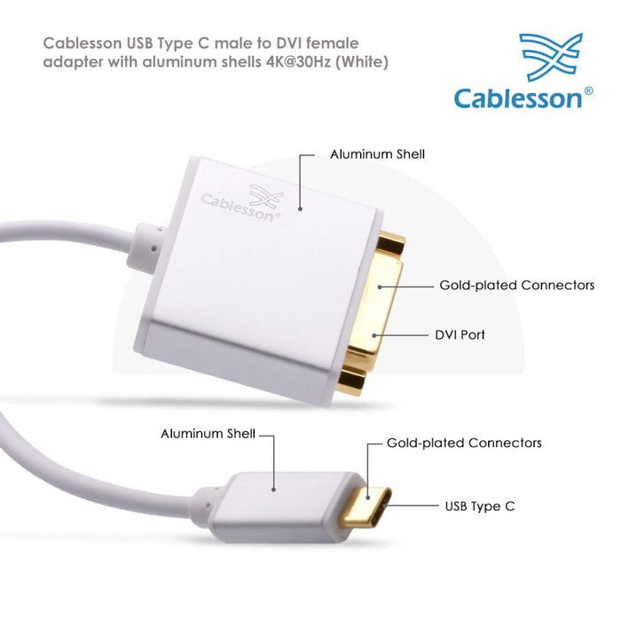 Cablesson USB Type C male to DVI female adapter with aluminum shells 0.23M 4K@30Hz (White)