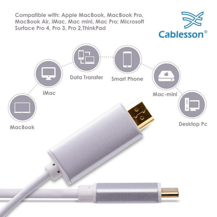 Cablesson 1M USB Type C male to HDMI male adapter cable with aluminum shells 4K at 30Hz (UHD 4Kx2K, Thunderbolt 3 Compatible) Adapter Converter for Samsung Galaxy S9 S8 Plus, Huawei P20 - White