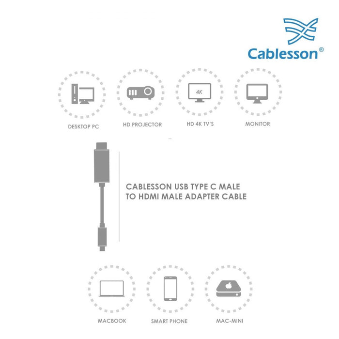 Cablesson 3M USB Type C (M) to HDMI (M) adapter cable 4K@30Hz (UHD Thunderbolt 3 Compatible) Adapter Converter for Macbook Pro 2017, 2016, Samsung Galaxy S9, S8, Plus, Huawei P20, Mate 10 - White